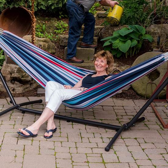 销量冠军!Vivere UHSDO9-24 双人吊床+金属支架套装5.7折 119.99加元起包邮!多色可选!