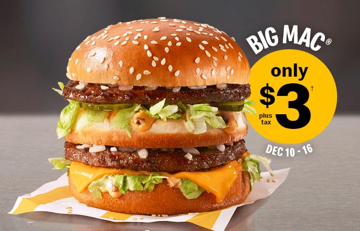缩略图 | 快去吃!麦当劳巨无霸汉堡Big Mac限时$3/个!晚了就没有啦!