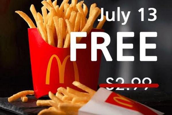 缩略图 | 免费吃薯条啦!麦当劳周五全天赠送中份炸薯条!