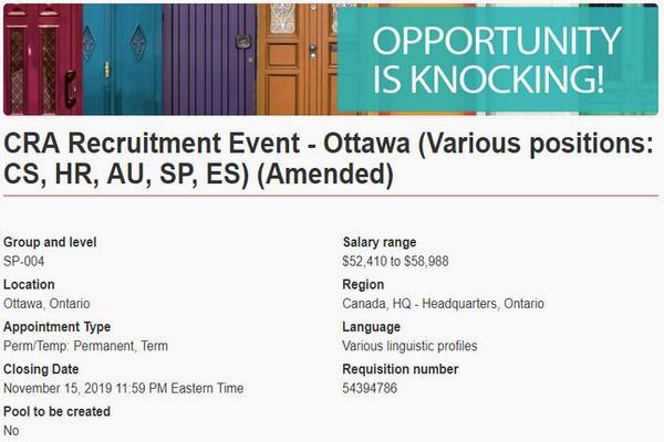 缩略图 | 加拿大税务局11月15日大型现场招聘会:超多职位,免费入场!