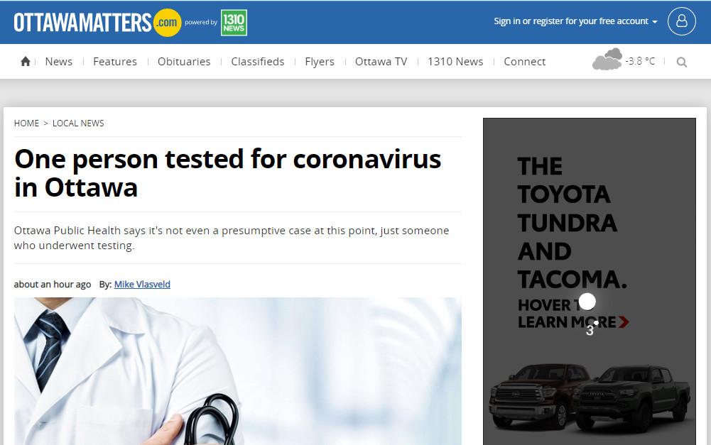 缩略图 | 【Breaking】渥太华一人接受新冠状病毒检测,温哥华确诊一例!