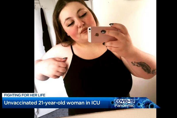 缩略图 | 加拿大21岁女子不信病毒,拒打疫苗,感染三周后性命垂危!